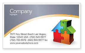 Construction: Real Estate Finance Puzzle Business Card Template #03823