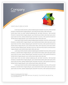 Real Estate Finance Puzzle Letterhead Template, 03823, Construction — PoweredTemplate.com