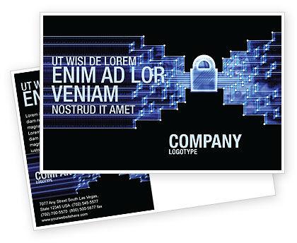 Technology, Science & Computers: Modèle de Carte postale de transfert de données sécurisé #03825
