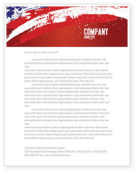 Torn Flag Letterhead Template, 03827, America — PoweredTemplate.com