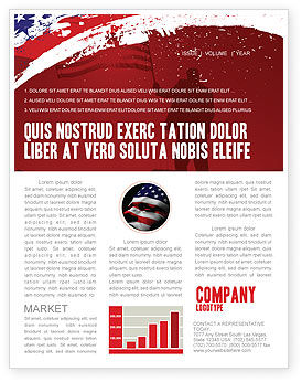 Torn Flag Newsletter Template, 03827, America — PoweredTemplate.com