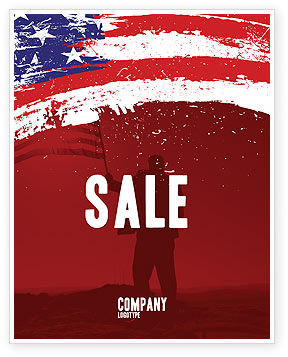 America: Torn Flag Sale Poster Template #03827
