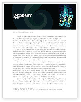 Night City Life Letterhead Template, 03856, Art & Entertainment — PoweredTemplate.com