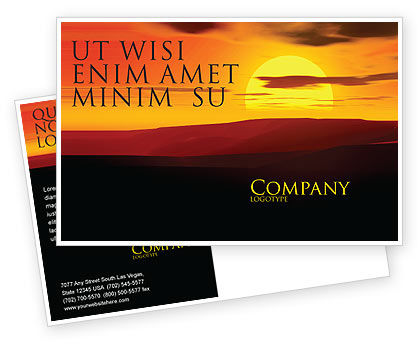 Nature & Environment: Sunset Postcard Template #03871