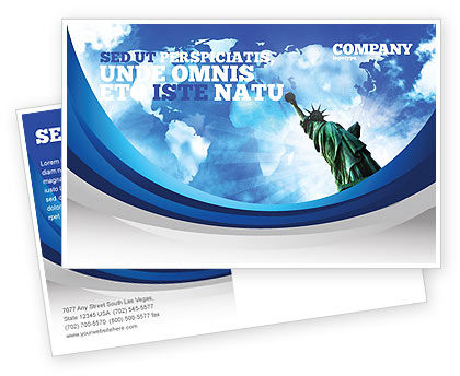 America: America and World Postcard Template #03882