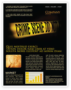Crime Scene Newsletter Template, 03883, Legal — PoweredTemplate.com