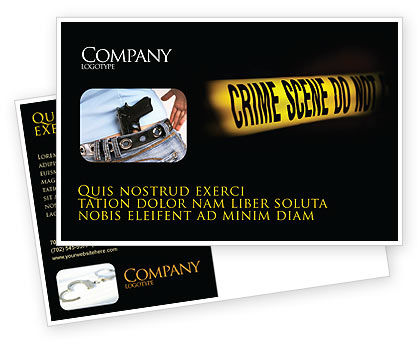 Crime Scene Postcard Template, 03883, Legal — PoweredTemplate.com