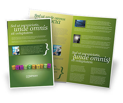 Innovation Cubes Brochure Template, 03888, Education & Training — PoweredTemplate.com