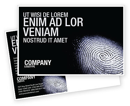 Fingerprint Postcard Template, 03890, People — PoweredTemplate.com