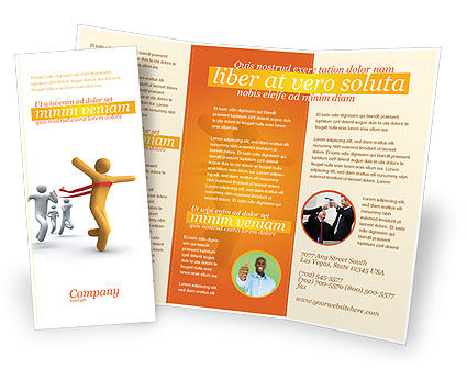 Victory In The Race Brochure Template, 03896, Business Concepts — PoweredTemplate.com