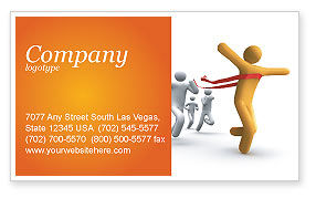 Victory In The Race Business Card Template, 03896, Business Concepts — PoweredTemplate.com