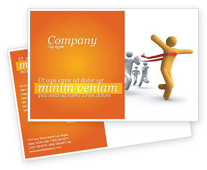 Business Concepts: Victory In The Race Postcard Template #03896