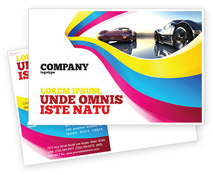 Concept Cars Postcard Template, 03909, Cars/Transportation — PoweredTemplate.com