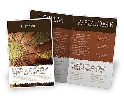 Religious/Spiritual: Unity Hands Touching Ground Brochure Template #03911