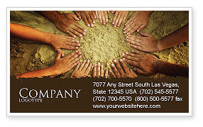 Religious/Spiritual: Unity Hands Touching Ground Business Card Template #03911