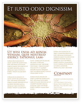 Religious/Spiritual: Unity Hands Touching Ground Flyer Template #03911
