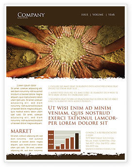 Religious/Spiritual: Unity Hands Touching Ground Newsletter Template #03911