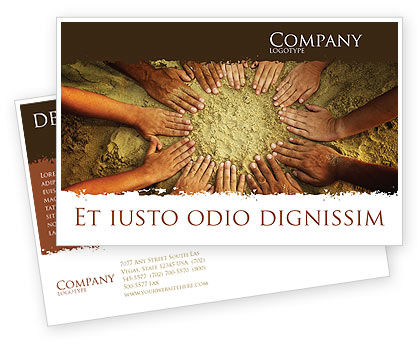 Religious/Spiritual: Unity Hands Touching Ground Postcard Template #03911