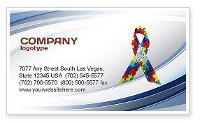 Religious/Spiritual: Autism Awareness Ribbon Business Card Template #03914