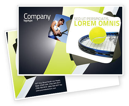 Sports: Tennis Ball Postcard Template #03918
