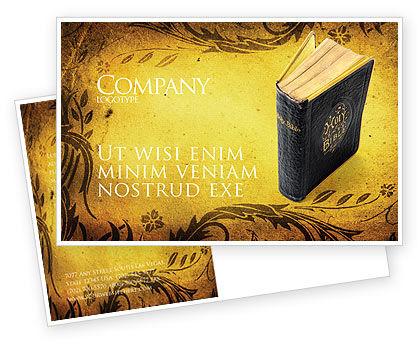 Religious/Spiritual: Christian Bible Postcard Template #03936