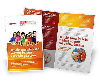 Eurosafe European Child Safety Alliance Brochure Template, 03960, Education & Training — PoweredTemplate.com