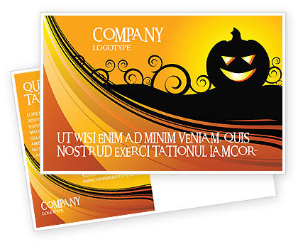 Halloween is Near Postcard Template, 03967, Holiday/Special Occasion — PoweredTemplate.com