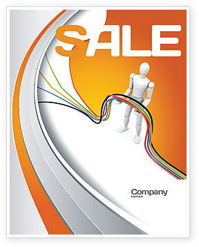 Telecommunication: Multicolored Wires On Orange Background Sale Poster Template #03969