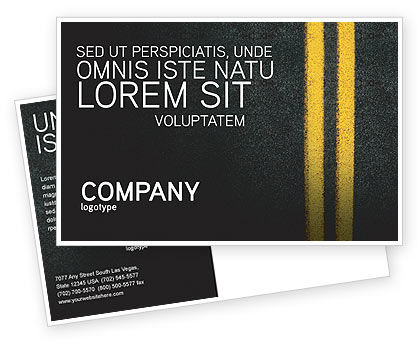 Cars/Transportation: Road Marking Postcard Template #03971