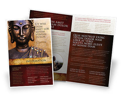 Buddha In Meditation Brochure Template, 03973, Religious/Spiritual — PoweredTemplate.com