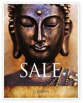 Buddha In Meditation Sale Poster Template, 03973, Religious/Spiritual — PoweredTemplate.com