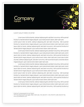 Yellow Flowers Pattern Letterhead Template, 03980, Abstract/Textures — PoweredTemplate.com