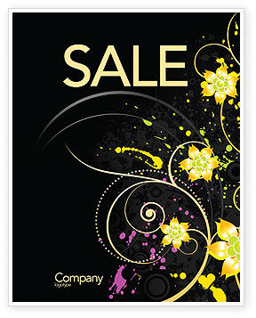 Yellow Flowers Pattern Sale Poster Template, 03980, Abstract/Textures — PoweredTemplate.com