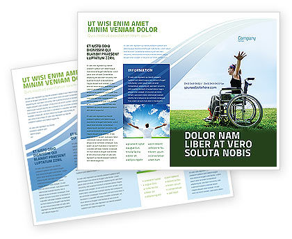 Handicapped Person Brochure Template, 03985, People — PoweredTemplate.com