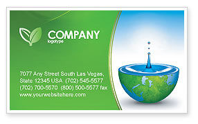 Nature & Environment: Blue Water Of A Green Planet Business Card Template #03986