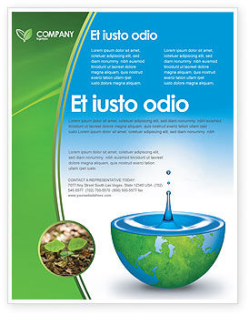 Blue Water Of A Green Planet Flyer Template, 03986, Nature & Environment — PoweredTemplate.com