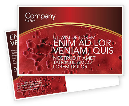 Medical: Blood Postcard Template #03987