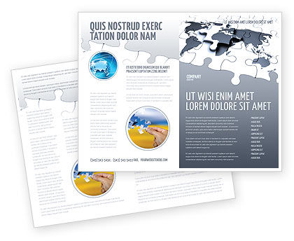 Map Fragments Brochure Template, 03989, Global — PoweredTemplate.com