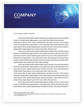 Technology, Science & Computers: Patch Cord Connector Letterhead Template #03995