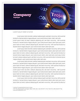 Technology, Science & Computers: Computer Virus Letterhead Template #03997