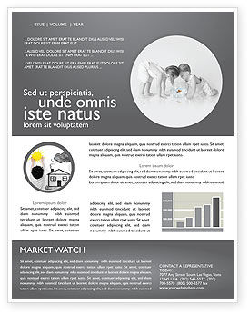 Happy Children Newsletter Template, 04000, People — PoweredTemplate.com