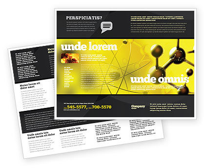 Molecular Lattice In Dark Yellow Colors Brochure Template, 04002, Technology, Science & Computers — PoweredTemplate.com