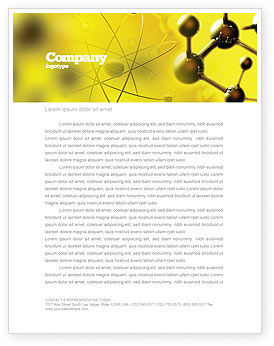 Molecular Lattice In Dark Yellow Colors Letterhead Template, 04002, Abstract/Textures — PoweredTemplate.com