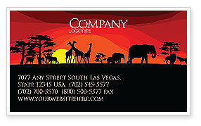 Nature & Environment: Savanna Sundown Business Card Template #04012