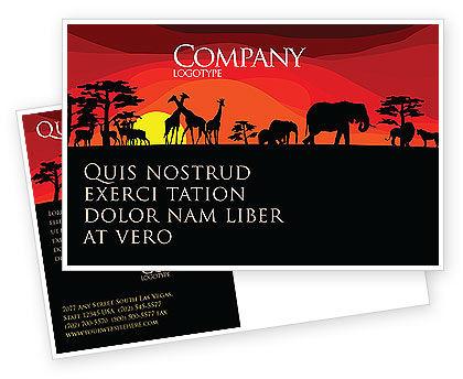 Nature & Environment: Savanna Sundown Postcard Template #04012