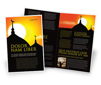 Mosques Brochure Template, 04019, Religious/Spiritual — PoweredTemplate.com