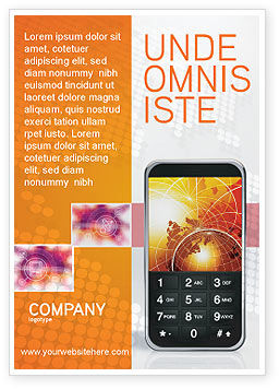 Cellular Phone In Orange Colors Ad Template, 04021, Telecommunication — PoweredTemplate.com