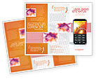 Telecommunication: Cellular Phone In Orange Colors Brochure Template #04021