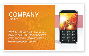 Telecommunication: Cellular Phone In Orange Colors Business Card Template #04021