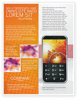 Telecommunication: Cellular Phone In Orange Colors Flyer Template #04021
